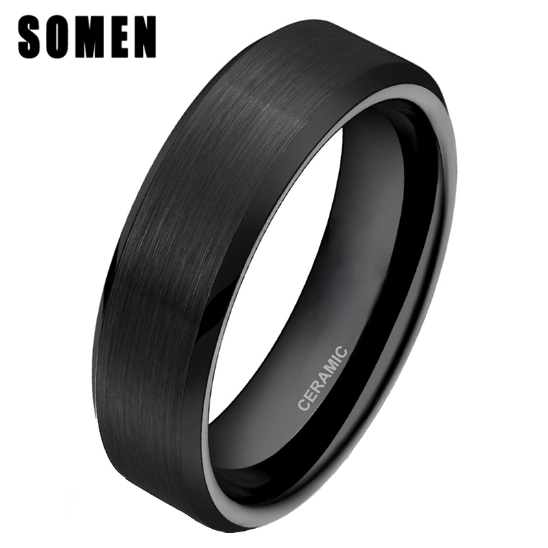 Somen 6mm Classic Anello da donna in ceramica nera con anello da sposa con anello Comfort Fit Fashion Donna gioielli Bague Femme Size 4 - 12