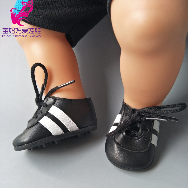 Sport Doll Shoes fit for 43CM Reborn Baby Doll black football Shoes for baby doll