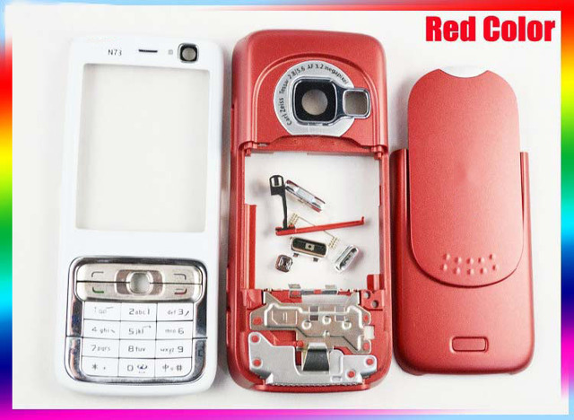 For Nokia N73 Original Complete Full Housing Cover Case with logo+ Keypads Keyboards+Buttons Red Color+Tracking# Free Shipping