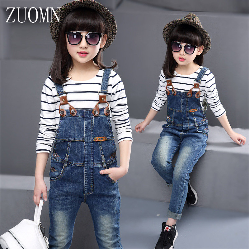 2017 Spring Girls Tops T-shirt Denim Bib Pants Cartoon Two-piece Outfit Set Casual Kids Outfit Clothes Children Suit YL454 2016 hot selling baby kids girls one piece sleeveless heart dots bib playsuit jumpsuit t shirt pants outfit clothes 2 7y