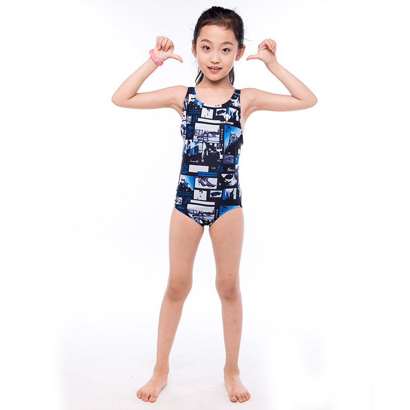 HXBY Floral Print Kids One Piece Suit Swimming Suit 2017 New Girl's Professional Training Swimming Suit Backless Girl Swimwear
