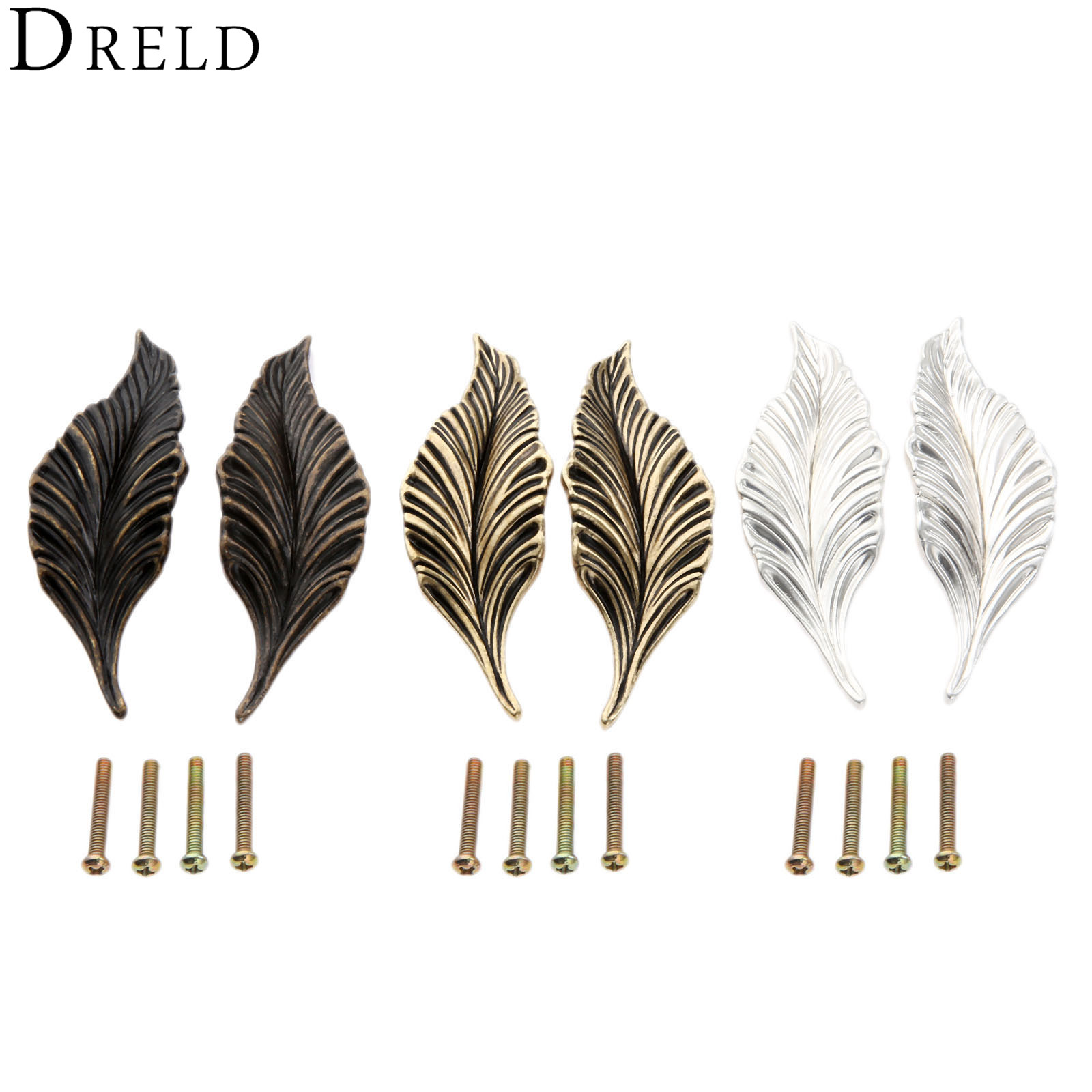 DRELD 2Pcs Novelty Leaves Furniture Handles Cabinet Knobs and Handles Drawer Wardrobe Door Kitchen Handle Furniture Hardware css clear crystal glass cabinet drawer door knobs handles 30mm