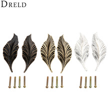 DRELD 2Pcs Novelty Leaves Furniture Handles Cabinet Knobs and Drawer Wardrobe Door Kitchen Handle Hardware