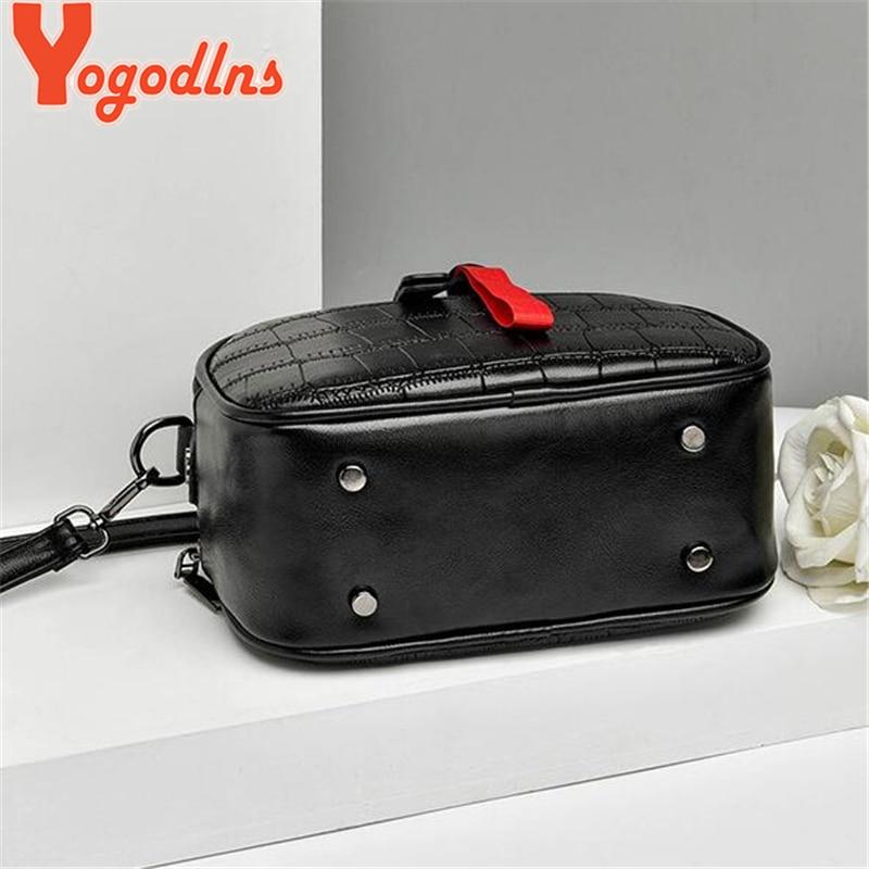 Yogodlns Leisure Pu Leather Messenger Women Bag Ladies Shoulder Bags Contrast Color Zipper Lattice Crossbody Rivet Handbags