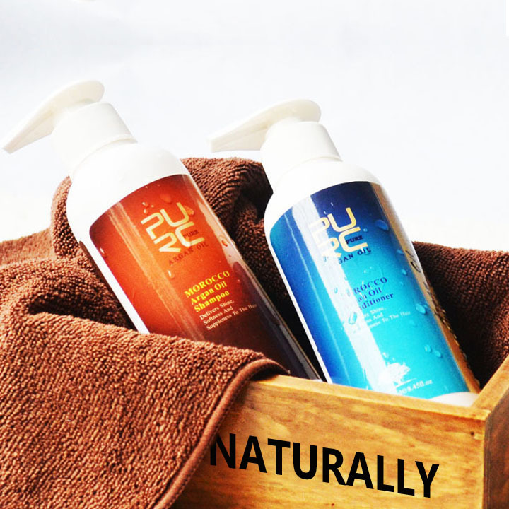 PURC 250 ml Aceite marroquí de argán Champú nutritivo y acondicionador para el cabello Cuidado del cabello Mejor para productos de peluquería
