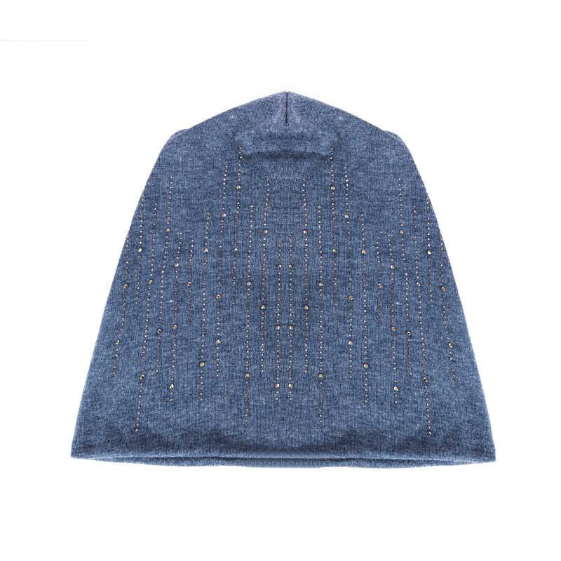 Chapéu de inverno de moda de evrfelan gorro para as mulheres macio outono gorros chapéus feminino strass cor sólida skullies boné atacado
