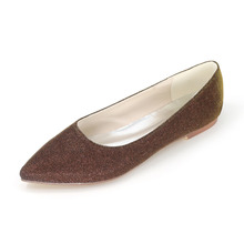 Sparkling glitter woman flats shoes party wedding daily shoes pointed toe slip on rubber sole bridal shoes gold sliver red black