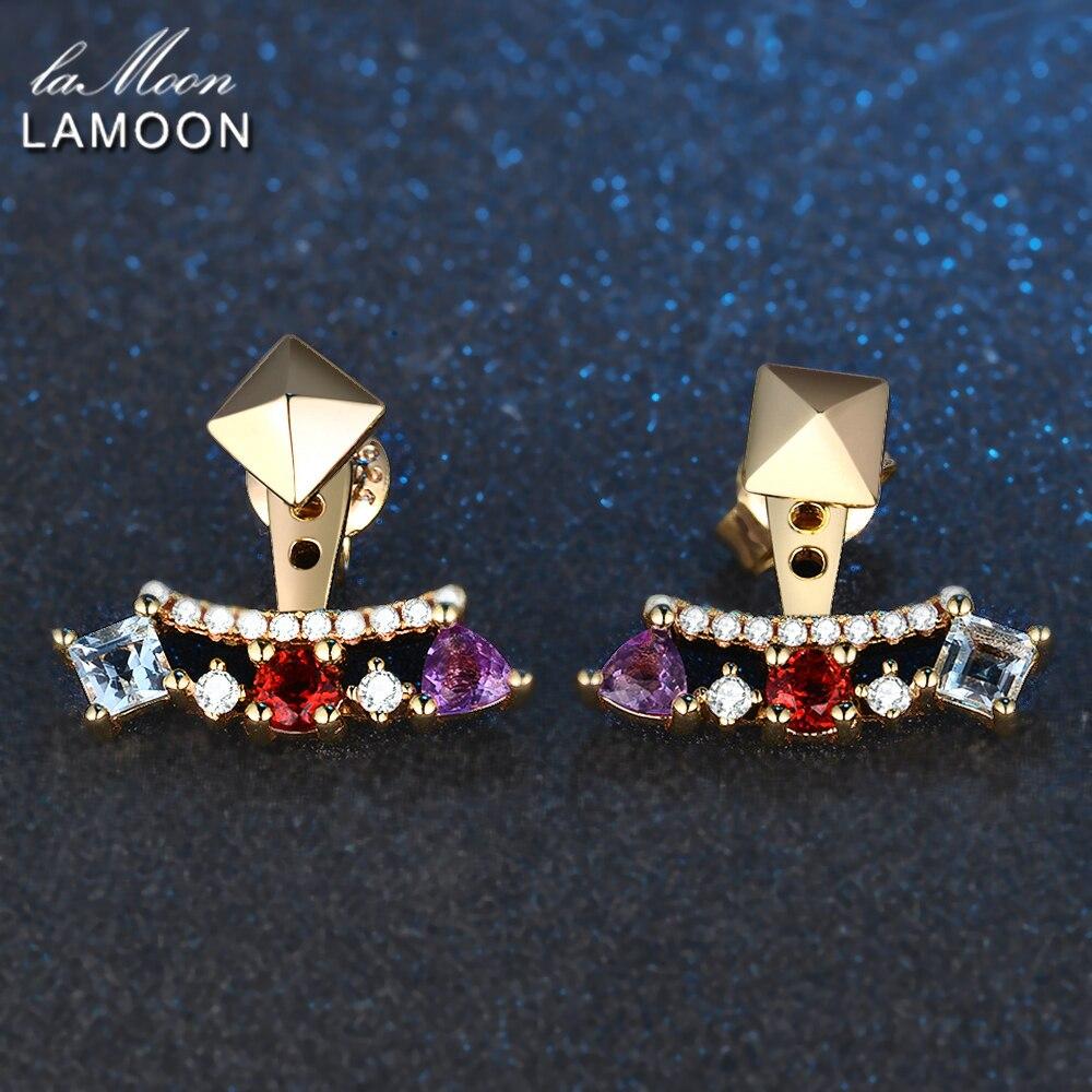 LAMOON-Piramida 0.7ct 3mm Təbii Ametist Garnet Topaz 925 Sterling - Gözəl zərgərlik - Fotoqrafiya 3
