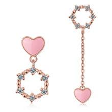 цена на 100% 925 Sterling Silver Trendy Asymmetric Love Heart CZ Zircon Lady Tassel Stud Earrings Jewelry Women Gift Drop Shipping