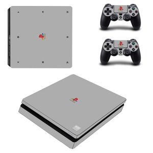 Image 1 - Pure Color White Black Removable PS4 Slim Skin Sticker For Sony PlayStation 4 Console and Controller PS4 Slim Sticker Decal