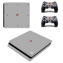 Saf renk beyaz siyah çıkarılabilir PS4 Slim cilt Sticker için Sony PlayStation 4 konsol ve denetleyici PS4 ince etiket çıkartması