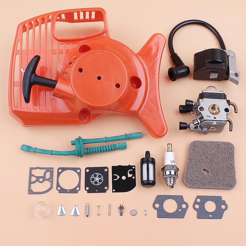 Recoil Starter Carburetor Ignition Coil Spark Plug Filter Kit Fit Stihl FS38 FS45 FS46 FS55 FC55 KM55 Brushcutter Trimmer Spares