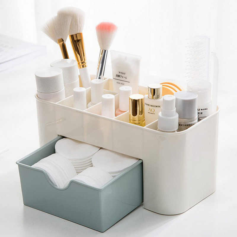 Saving Space Desktop Comestics Plastic Drawers Type Box Makeup Organizer Shelf Organizador Escritorio Pink Cheap Price
