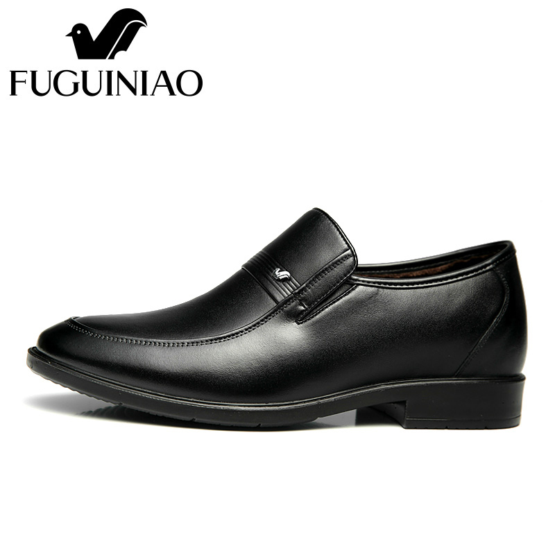 Ayakk.'ten Resmi Ayakkabılar'de Kış sıcak erkek resmi ayakkabı! Ücretsiz kargo! FUGUINIAO hakiki deri moda resmi Ayakkabı/kısa peluş iç/renk siyah'da  Grup 3