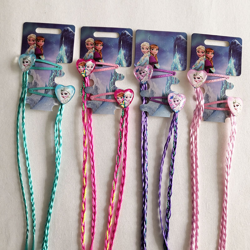New Lovely Kids Cartoon Princess Elsa Anna Hair Party Gift BB Hair Clips Braid Girls Hairpins Headband Children Accessories
