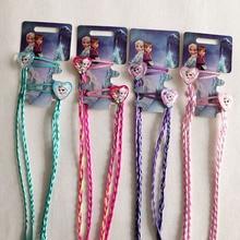 New Lovely Kids Cartoon Princess Elsa Anna Hair Party Gift BB Clips Braid Girls Hairpins Headband Children Accessories