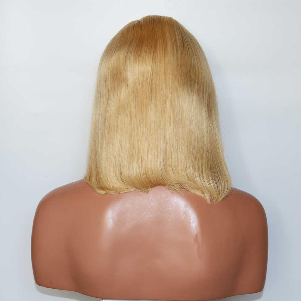 Eversilky короткий парик-Боб 8-14 дюймов бразильские прямые волосы Реми полные парики человеческих волос шнурка для женщин 613 блонд парик отбеленные узлы