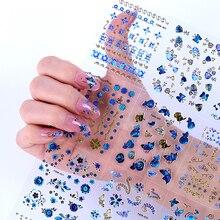 30 листов/Лот смешанные различные 3D Синие Бабочки цветочный дизайн CC Логотип шаблон клей дизайн ногтей наклейки украшения Маникюр DIY