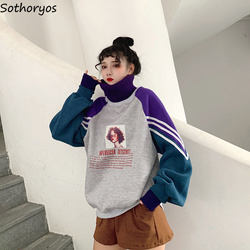 Hoodies Women Turtleneck Thicker Plus Velvet Warm Harajuku Printed Pullovers Womens Oversize Patchwork Leisure Chic Sweatshirts 4