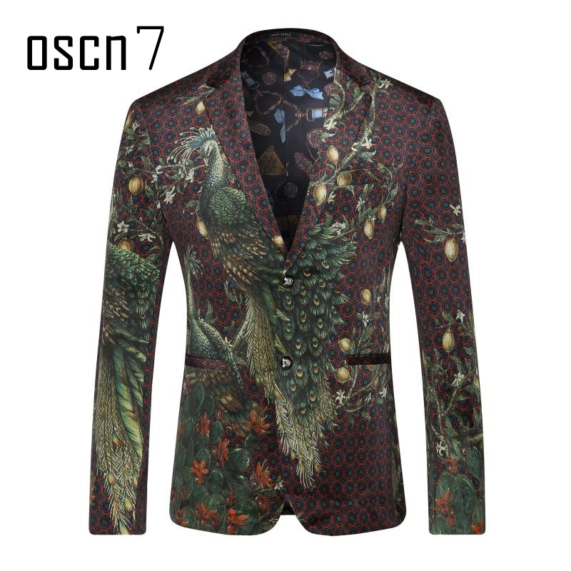 OSCN7 Peacock Bird Printed Blazer Men Slim Fit Stage Party 2017 Brand Mens Stage Costumes for Singers Plus Size Leisure Jacket