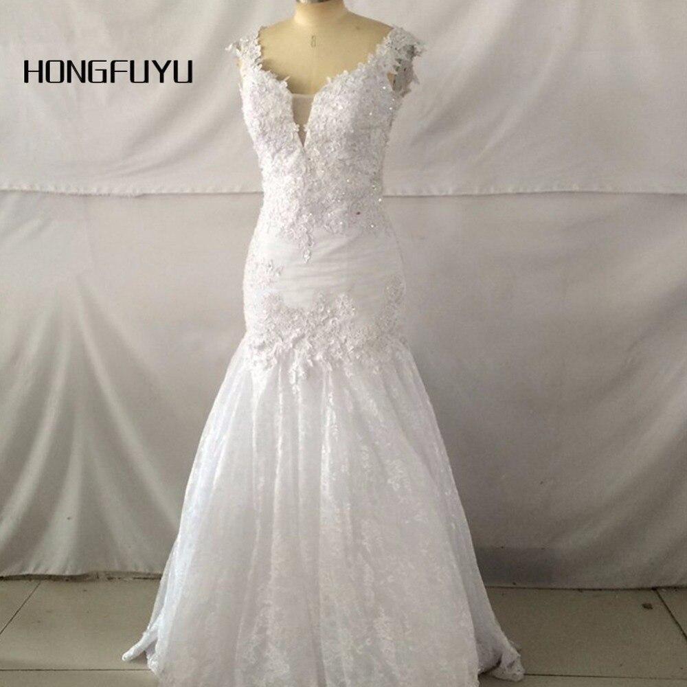 Lace mermaid deep v neck cap sleeves mermaid long wedding for Deep v back wedding dress
