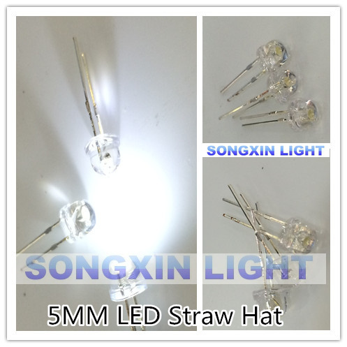 1000PCS/LOT 5mm straw hat LED lamp beads. White hair. Highlight big chip light-emitting diodes