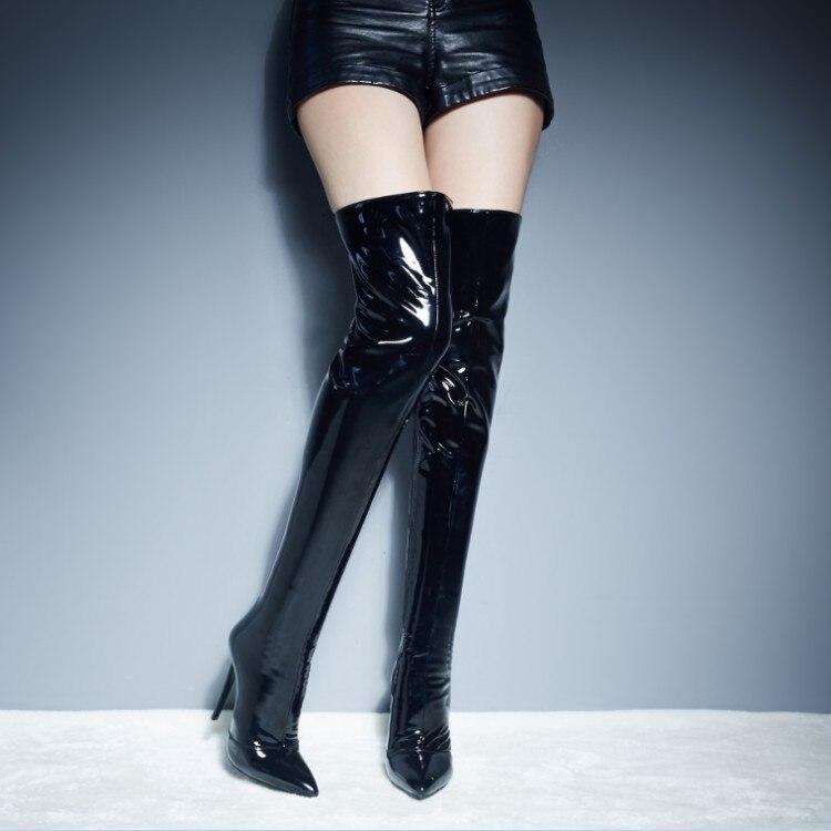 Lujo Show as Show Dedo Pie Cuero Del Mujer Rojo Muslo Alta Zapatos Patente Laterales Alto Negro Cremalleras Puntiagudo As La Señora Botas Tacón Chic De Invierno dS4n7d