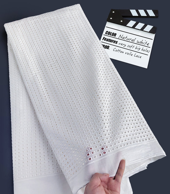 5 Yards white Soft cotton holed African Swiss voile Lace fabric Nigerian garment sewing clothes Skin friendly high quality
