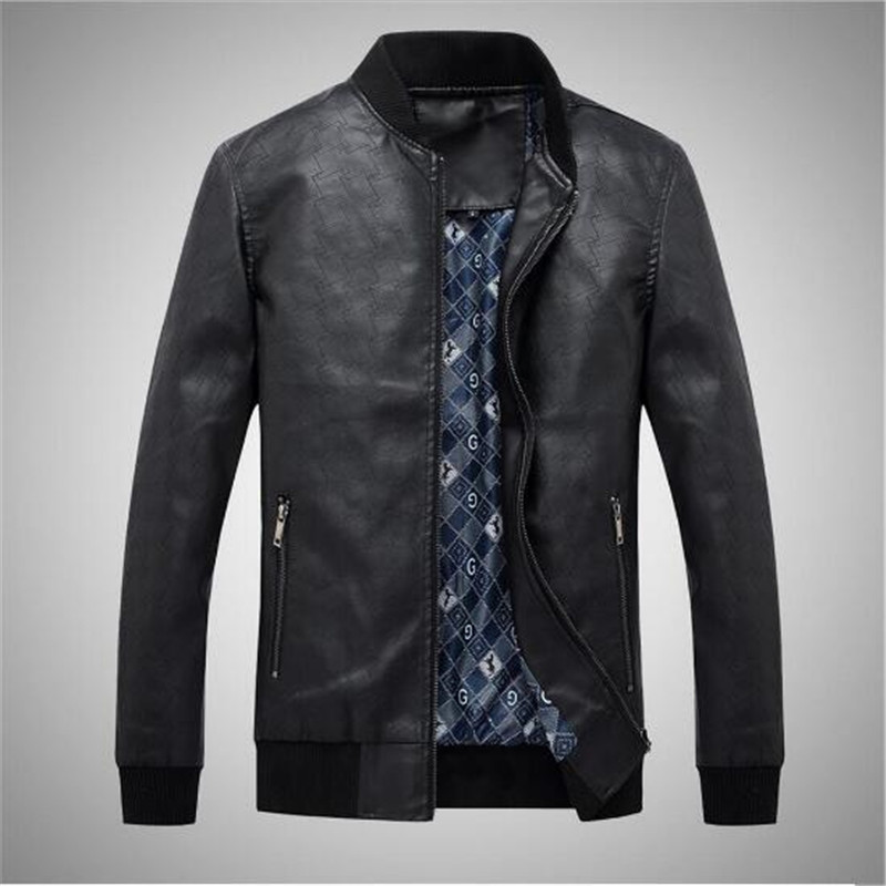 2018 New Leather Jacket Men Black Business Casual Water Wash PU Mens Faux Fur Coats Suede Leather Jacket Male