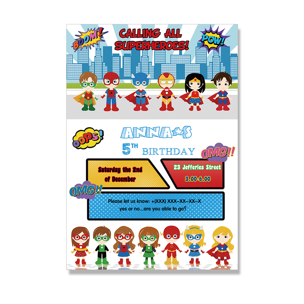 Superhero Invitations Card Birthday Party Supplies Decorations Boy And Girls Kids Event In Cards From