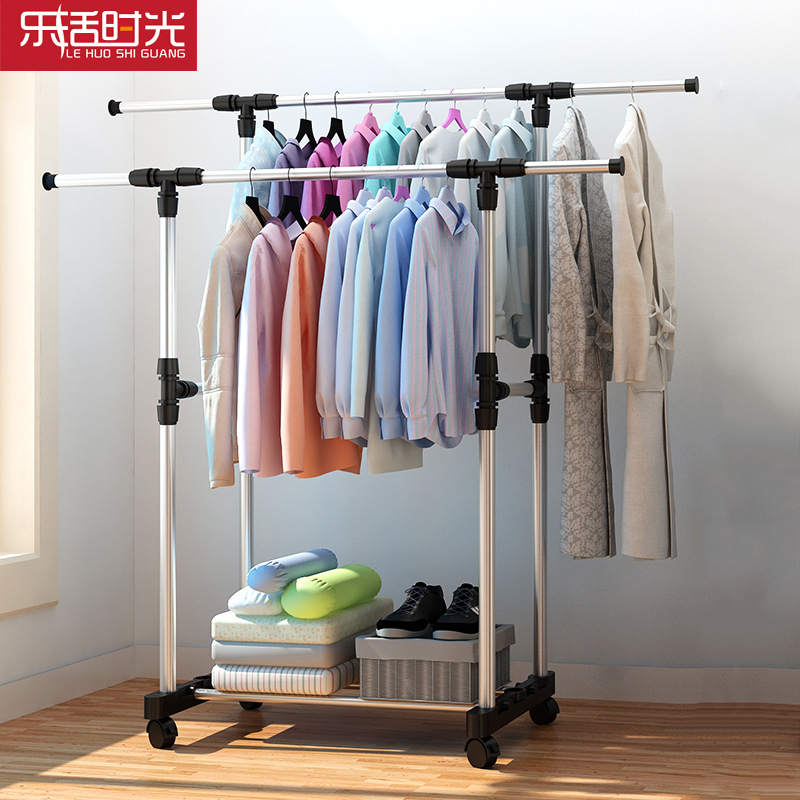 Fashion Simple Folding Clothes Hanger Movable Assembled Coat Rack Stand Adjustable Clothing Closet Bedroom Furniture with Wheel