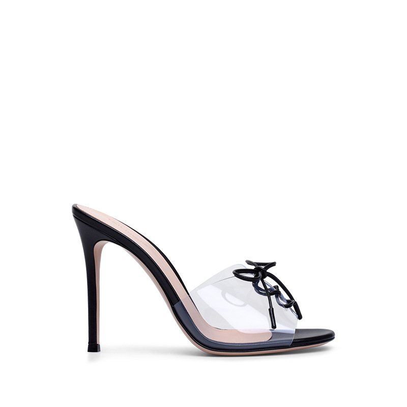 Mince Showed Color Clair Lacent Pompes Noir Mariée Été Femelle Femmes Sandales Haute Chaussures As Bowtie Femme Partie 2018 Sexy as Color Dames Talons HXBTqx