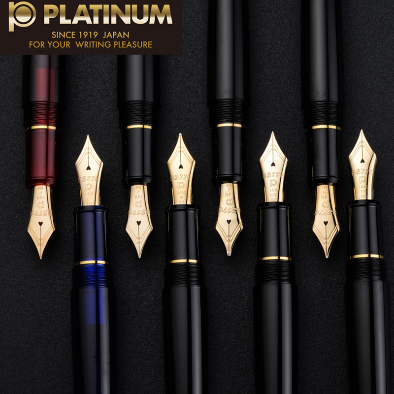 цена на Japan Original platinum 3776 century PNB-10000 14k gold fountain pen business office classic Transparent pen red blue soft nib