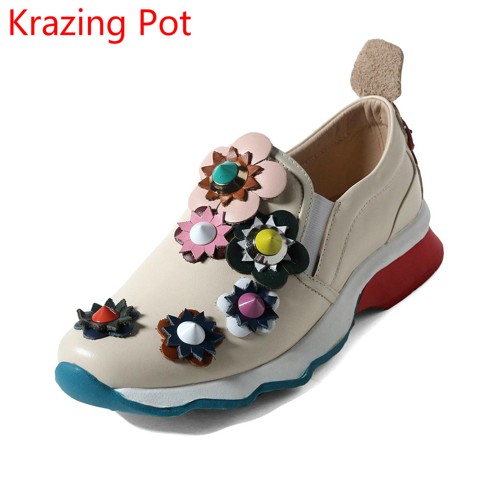 2018 Fashion Genuine Leather Slip on Rivets Mixed Colors Round Toe Sneaker Superstar Flower Causal Women Vulcanized Shoes L33 adidas superstar shell toe fashion sneaker