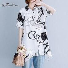BelineRosa European Street Fashion Womens Long Blouse Summer Style Short Sleeve Printing Irregular Female FNFS0001