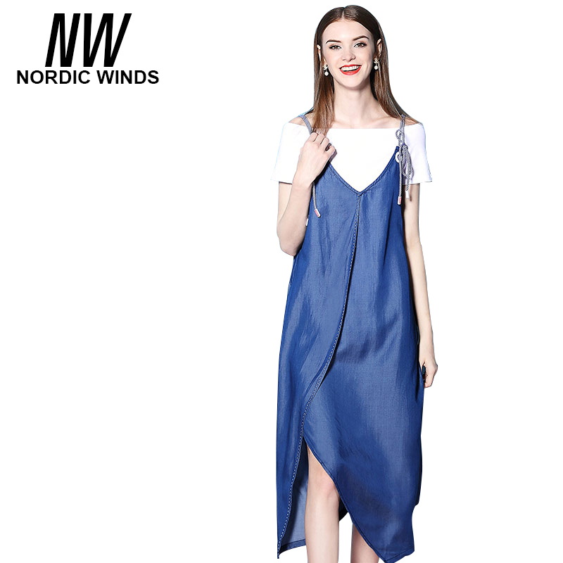 Nordic Winds Denim Overalls Dress For Women Summer Spaghetti Strap Loose V Neck Denim Dresses 2017 Midi High Quality Clothing