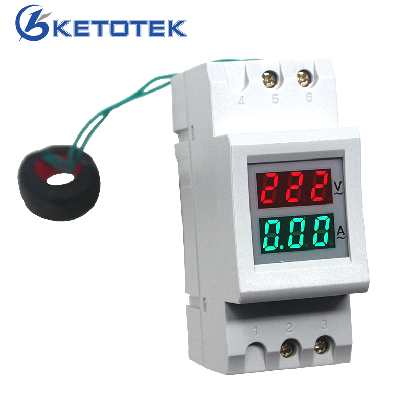 купить Din Rail Digital AC 0-100A Ammeter AC 80-300V 200-450V Voltmeter LED Display Volt Amp Meter Voltage Volt Current Tester по цене 847.96 рублей