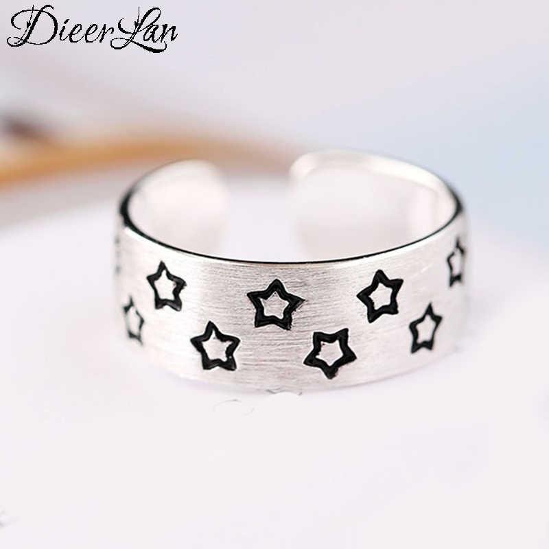 DIEERLAN Новые поступления Настоящее 925 пробы серебряная звезда кольца для Для женщин Регулируемый Размеры кольцо моды стерлингов-серебро-ювелирные изделия