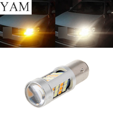 YAM 1157 BAY15D Super Bright White/Amber Switchback 2835 42 LED Light Turn Signal 1xhigh power 1157 5630 20smd dual color type 2 switchback white amber yellow switchback led drl turn signal parking light bulbs
