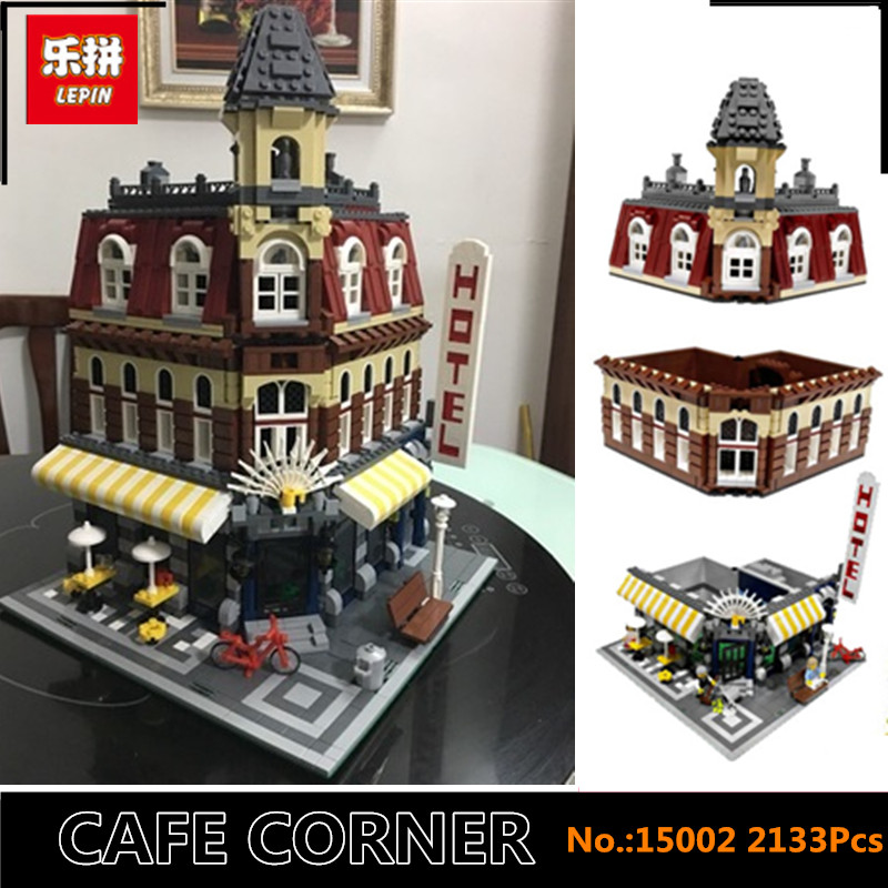 IN STOCK DHL Lepin 15002 2133Pcs Clone City Street Make Create Cafe Corner Model Building Kits Set Blocks Clone 10182 ynynoo lepin 02043 stucke city series airport terminal modell bausteine set ziegel spielzeug fur kinder geschenk junge spielzeug