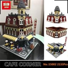 В наличии DHL Лепин 15002 2133 шт. клон город улица сделать создать кафе углу Конструкторы и модели комплект Блоки клон 10182