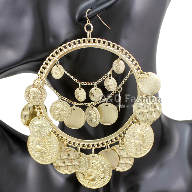 Vintage Tribal Coins Big Hoop Banjara Belly Dance Gypsy Earrings