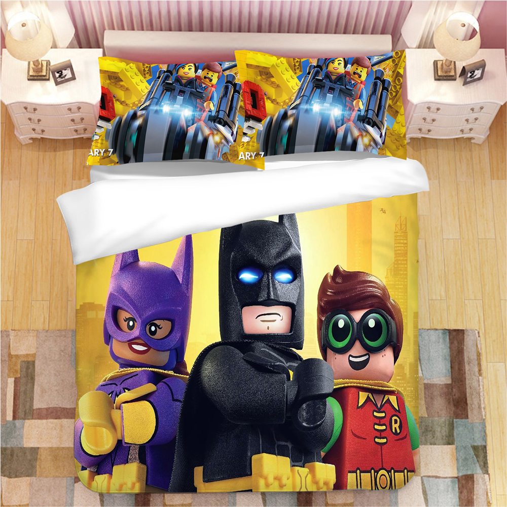 Legoings Marvel The Avengers Bedding Set Duvet Covers Pillowcases Queen King Batman Comforter Bedding Sets Bed Line(NO Sheet)