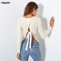 2017 New Arrival Lady T Shirt Women Solid Hollow Out V-Neck T-Shirt Top Backless Bandage Sexy Long Sleeve T-Shirts Trend Tshirt