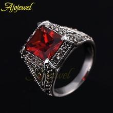 Ajojewel Vintage Retro Black CZ Antique Silver Purple & Red Ruby Zircon Rings For Women/Men
