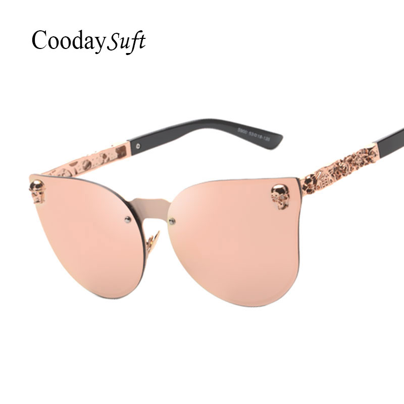 Coodaysuft Cat Eye Women Men Gothic Sunglasses Lady Fashion Brand Desinger Mirror Cateye Rose Gold Sun