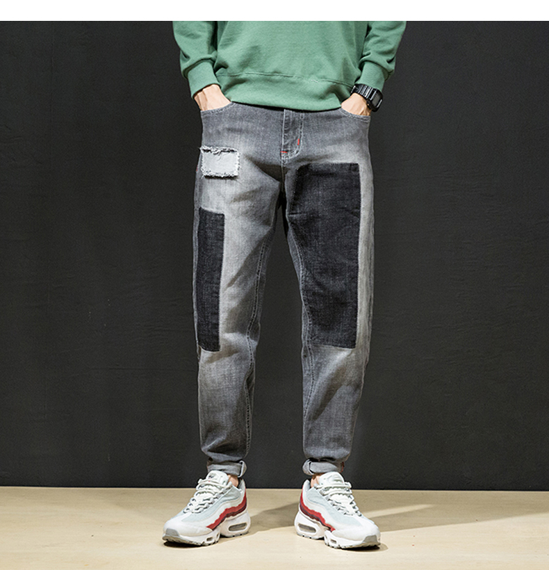KSTUN Jeans Men Japan Harem Pants Ripped Patched Hip hop Joggers Distressed Biker Jeans Grey Stretch Casual Denim Trousers Boys 11