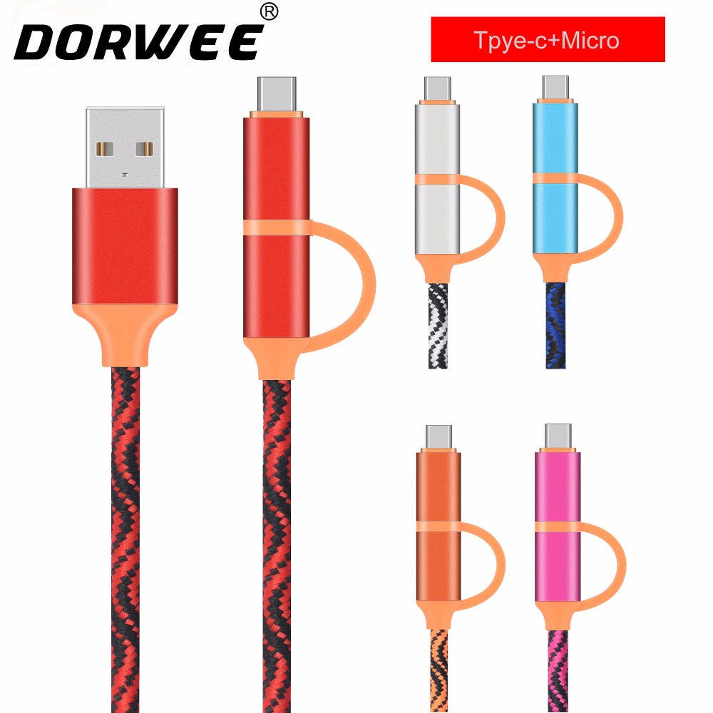 DORWEE 2 in 1 Micro USB Type C Cable For Samsung Galaxy S9 S8 Plus Note8 For Oneplus 6 For Xiaomi Mi 6 A1 Type-C Charging Cable ...