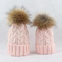 แม่เด็กครอบครัวฤดูหนาวที่อบอุ่นKintหมวกหมวกสำหรับผู้หญิงอิดโรยหมวกหมวกกะโหลกศีรษะขนแกะสก...