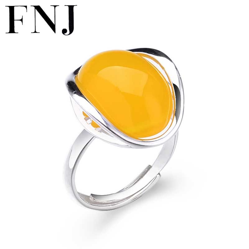 925 Silver Simple Ring Natural Yellow Stone 100% Pure S925 Sterling Solid Silver Rings for Women Jewelry Adjustable Size 925 sterling silver ring natural yellow chalcedony stone 100